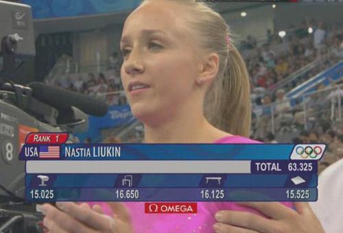 图文:[夺金时刻]体操女子个人全能 柳金夺冠